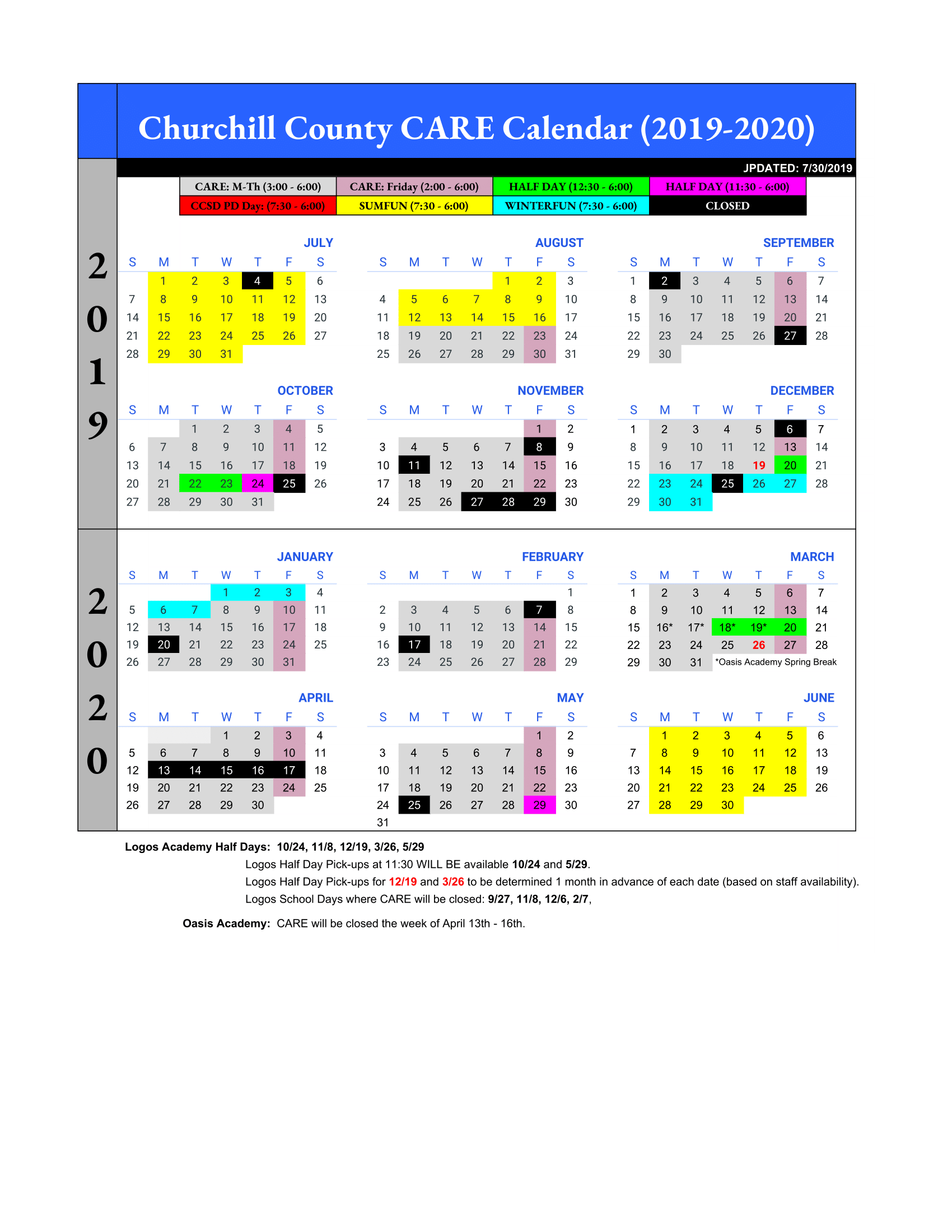 CARE 2019-2020 - Yearly Calendar