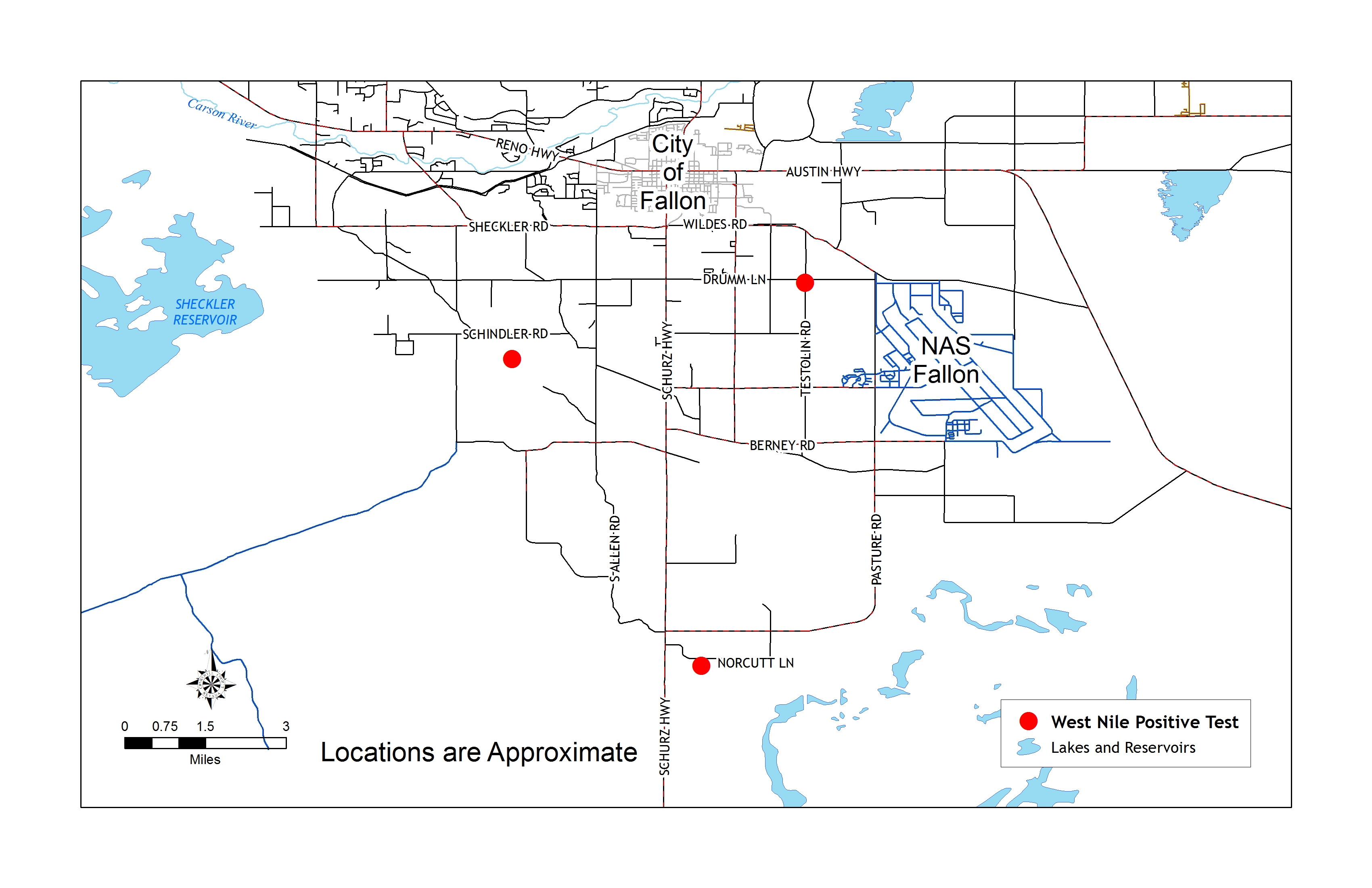 Churchill County map with locations of three positive West Nile virus tests