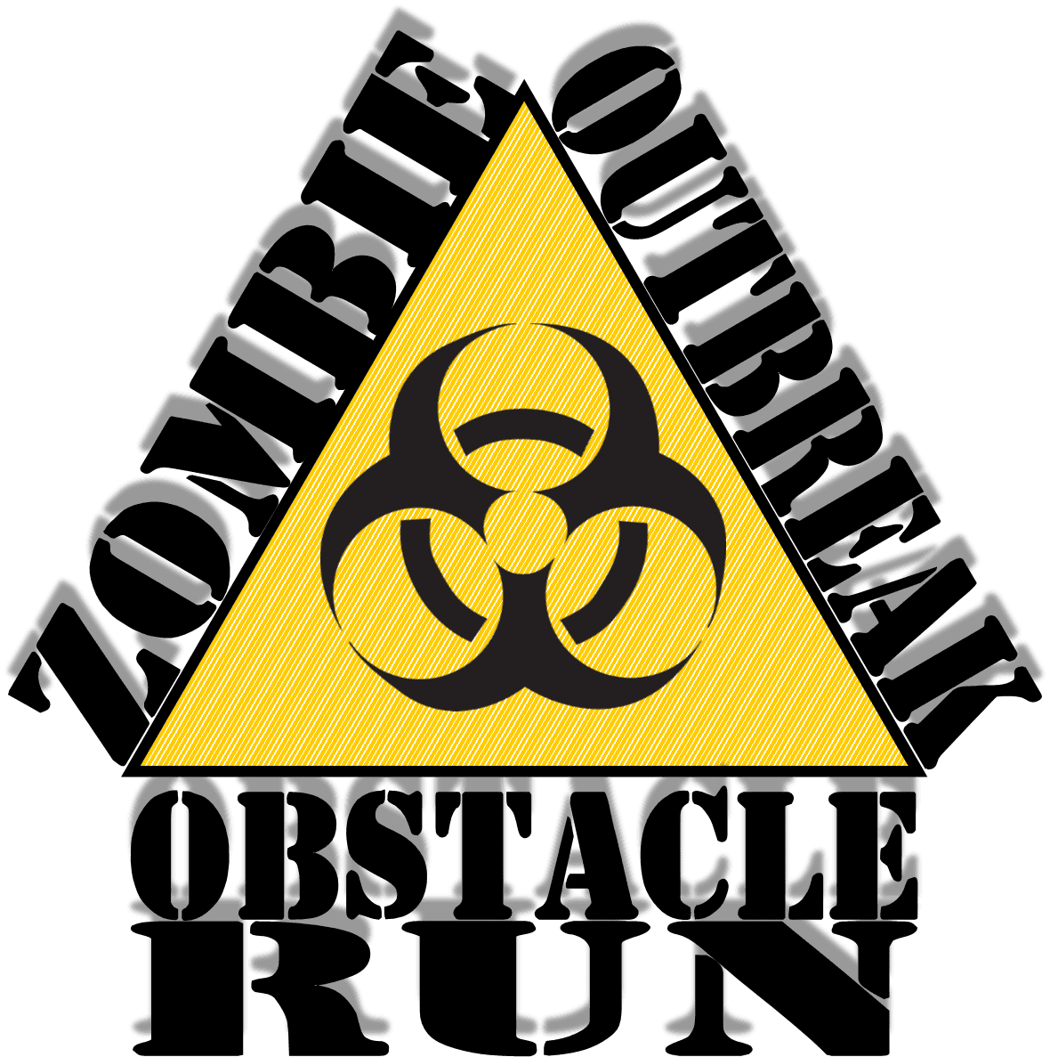 Zombie Obstacle Run Logo - Biohazard Sign surrounded by the race name.