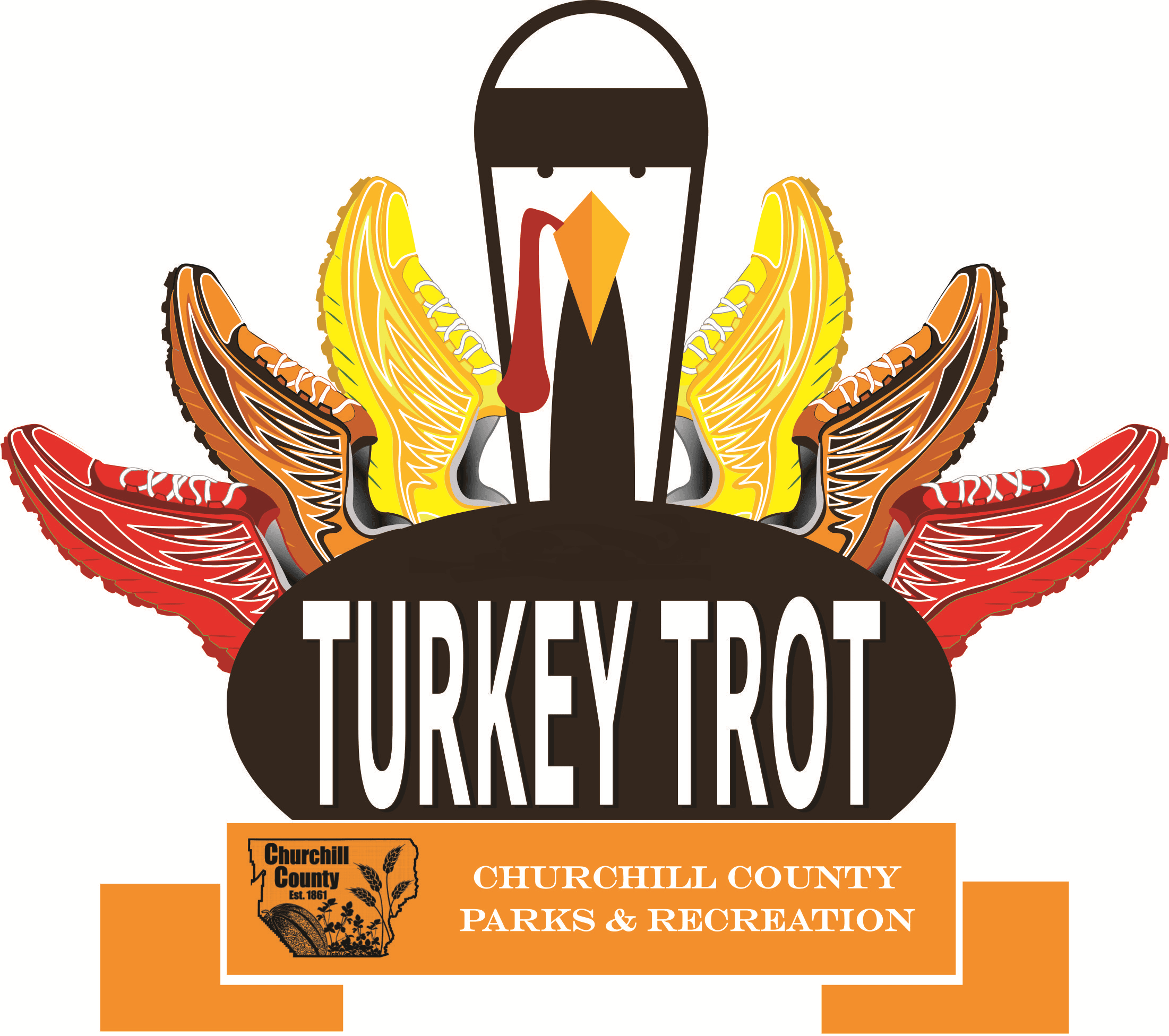 Turkey Trot Logo - An autumn colored turkey with running shoes for feathers behind a banner that say