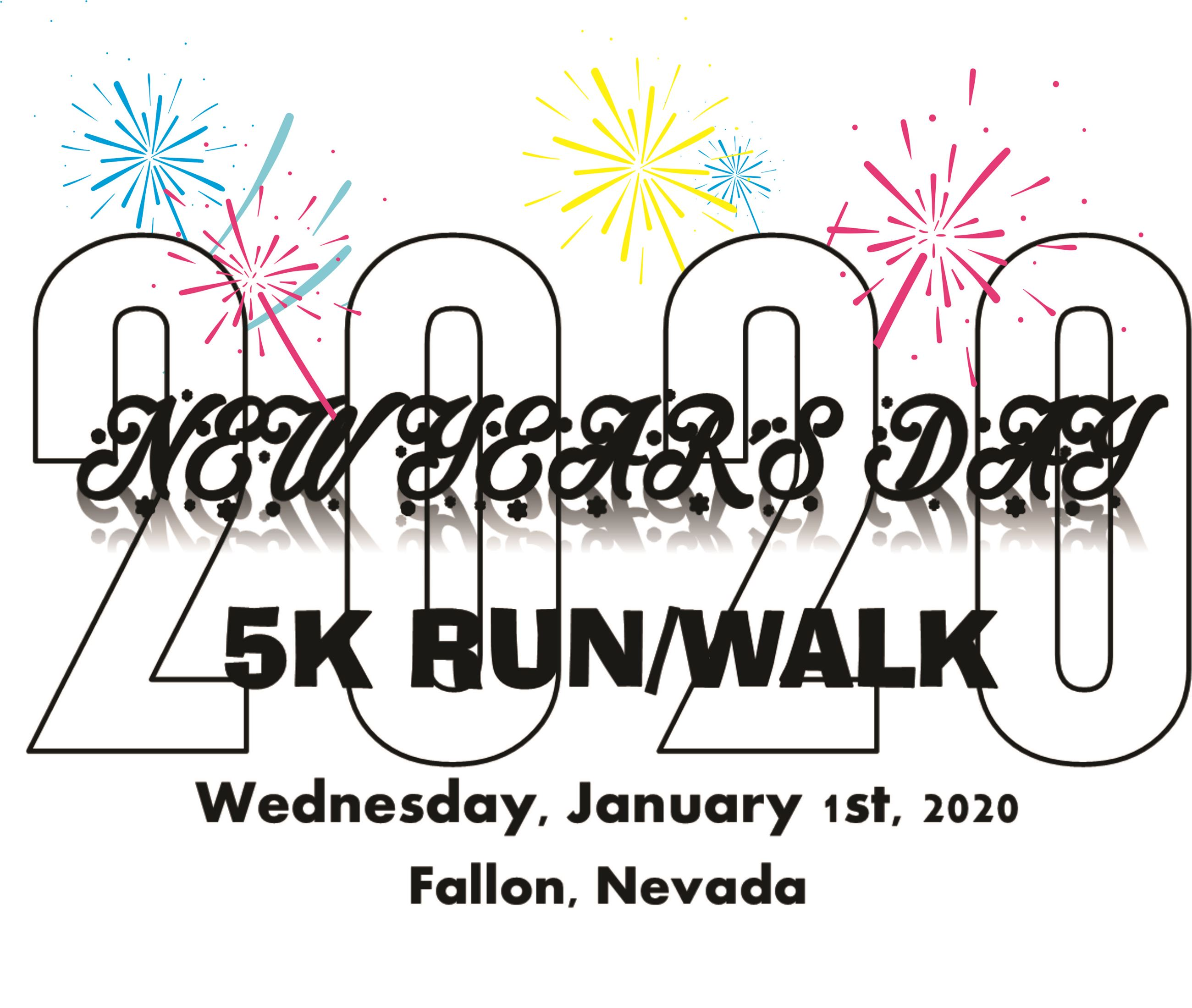 New Years 5K (2020) Logo - Race Name surrounded by fireworks.