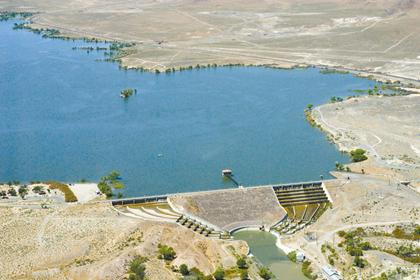 Lake Lahontan backs up behind the dam as viewed from the air.